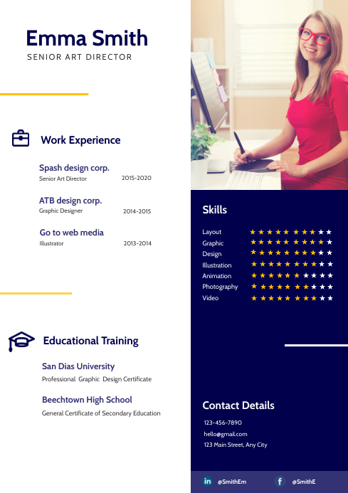 White and Blue Resume