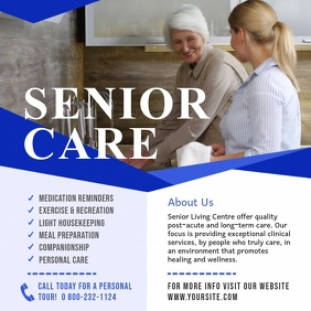 White and Blue Senior Care Ad Square Video