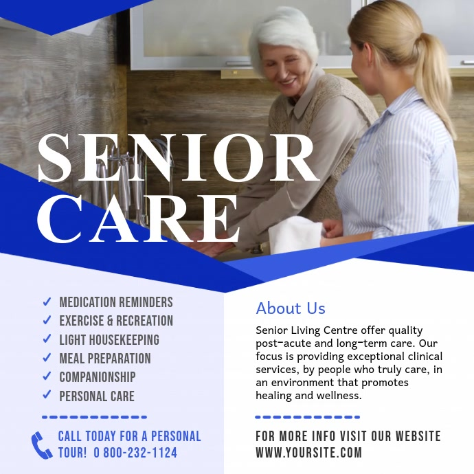 White and Blue Senior Care Ad Square Video