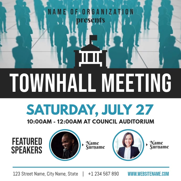 White and Blue Townhall Meeting Square Video