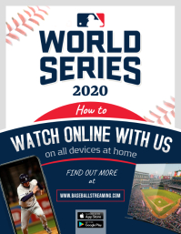 White and Blue World Screening Baseball Flyer template