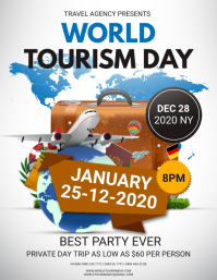 White and Blue World Tourism Day Poster Flyer (US Letter) template