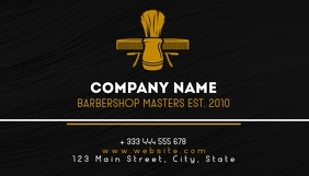 white and gold barbershop business card desig template