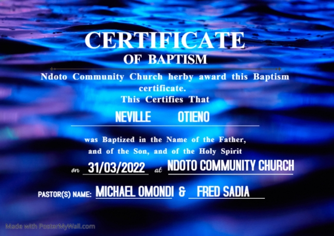 White and Gold Church Certificate of Baptism