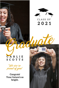 White and gold congrats graduate banner template