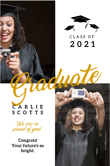 White and gold congrats graduate banner Cartel de 4 × 6 pulg. template