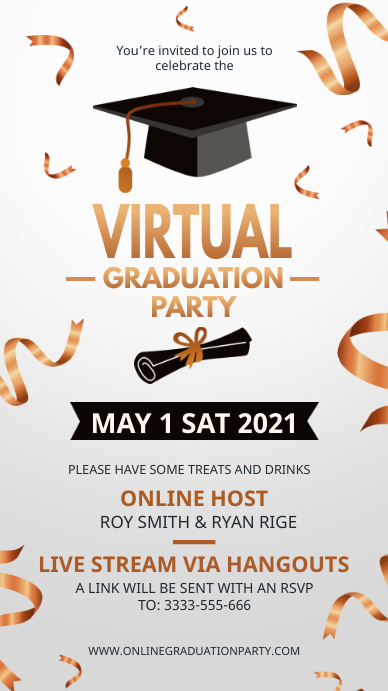 White and gold online graduation party invite Digital Display (9:16) template