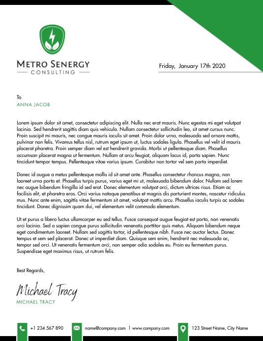 White and Green Corporate Letterhead Flyer (US Letter) template