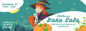 White and Green Halloween Bake Sale Facebook Cover