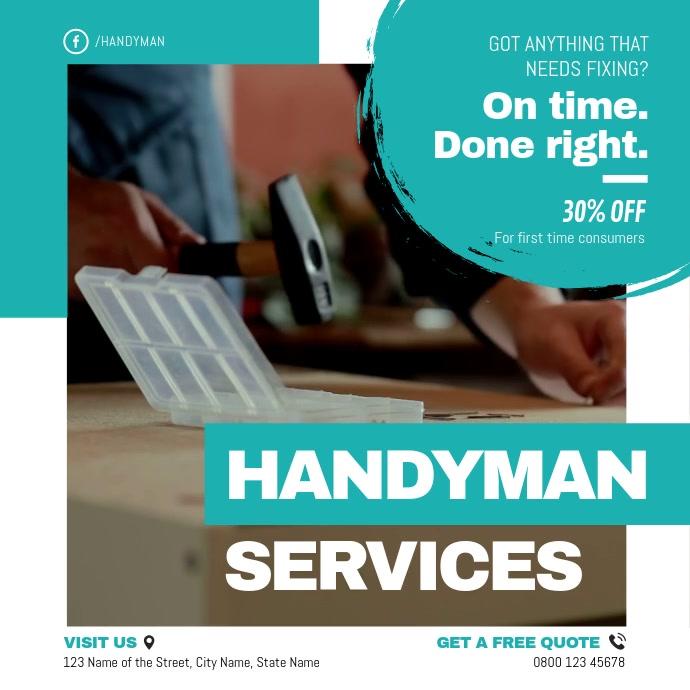 White and Green Professional Handyman Ad Squa