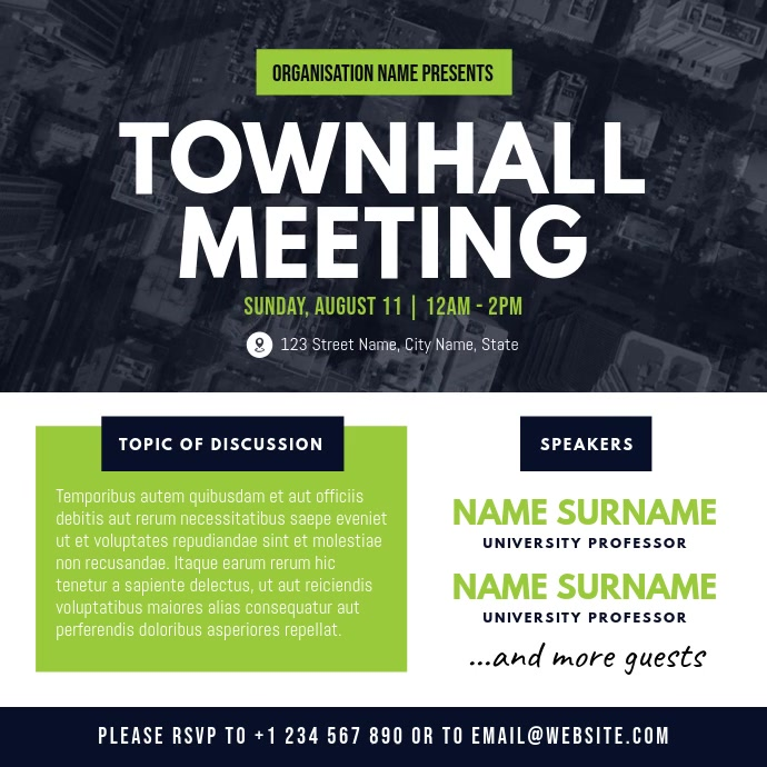 White and Green Townhall Meeting Square Video สี่เหลี่ยมจัตุรัส (1:1) template