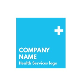 White and light blue logo