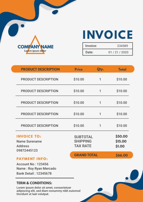 White and Orange Sales Invoice