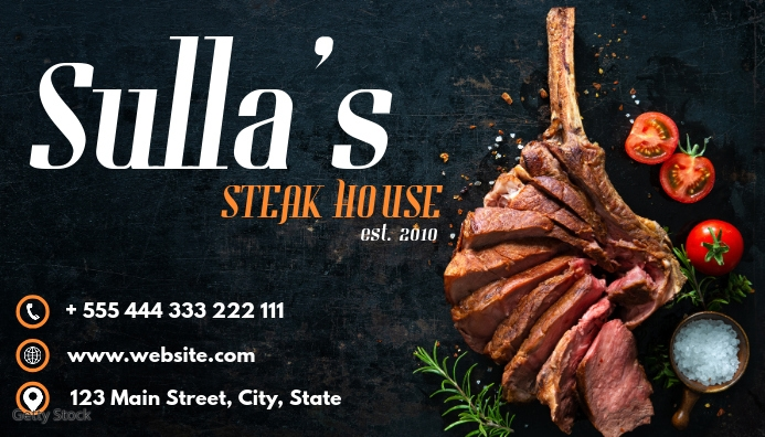 white and orange steak house business card re template