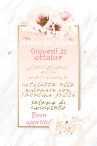 White and Pink Menu Template Poster