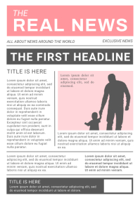 White and Pink Newspaper Layout A4 template