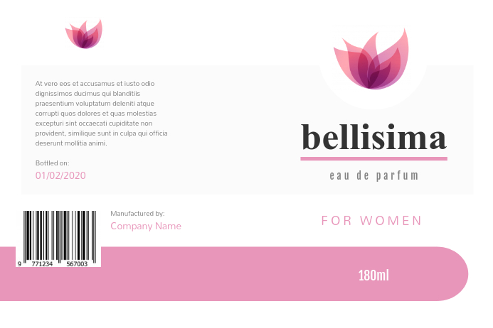 White and Pink Perfume Label Tatak template