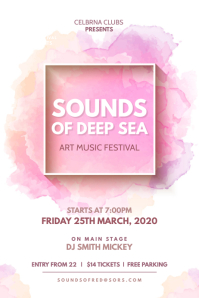 White and Pink Watercolor Themed Music Festival Party Poster