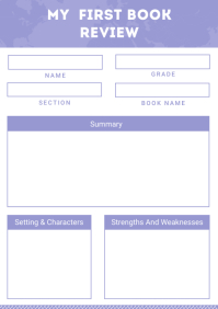 White and Purple Book Review Worksheet