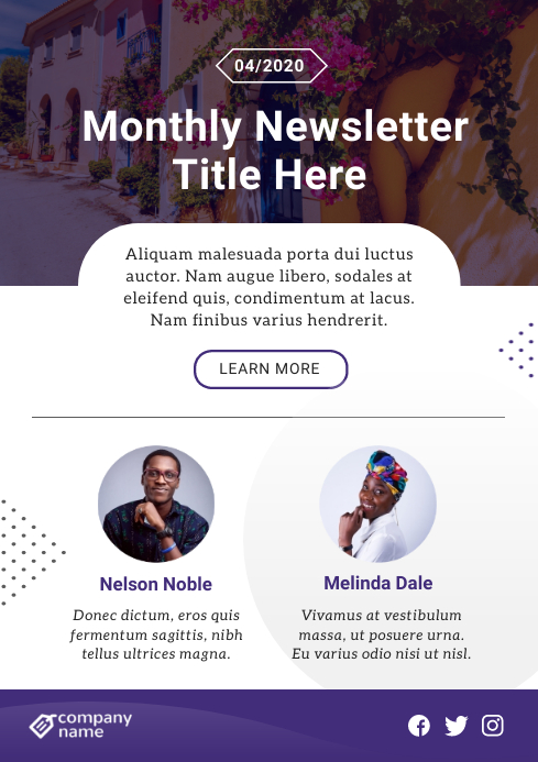 White and Purple Modern Newsletter A4 template