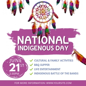 White and Purple National Indigenous Day Even Instagram Post template