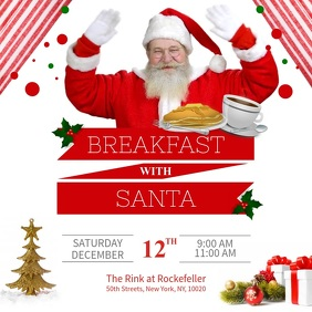 White and Red Breakfast with Santa Square Vid template