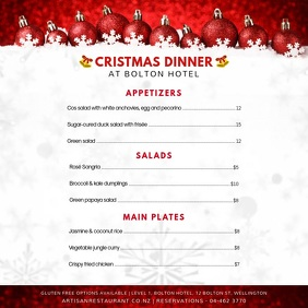 White and Red Christmas Menu Square Video