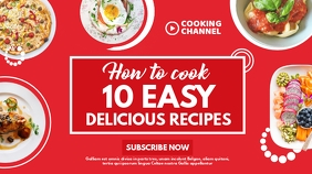 white and red colors 10 easy delicious recipe YouTube Thumbnail template