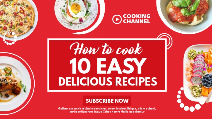 white and red colors 10 easy delicious recipe YouTube 缩略图 template