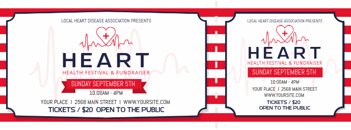 White and Red Heart Health Fundraising Ticket Facebook Cover