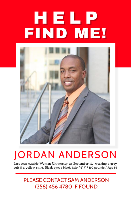 White and Red Missing Person Poster template