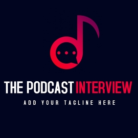 white and red radio interview podcast logo te template