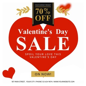 White and Red Valentine Sale Square Video