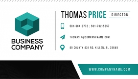 White and Teal Business Card