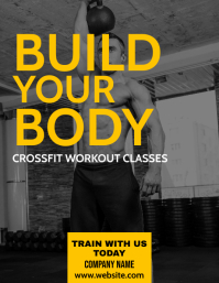white and yellow fitness flyer template