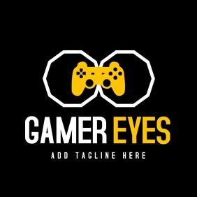 white and yellow gaming logo design template โลโก้