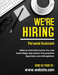 white and yellow hiring flyer design template