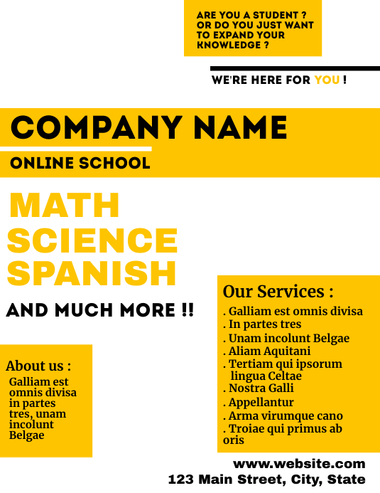 white and yellow online school flyer Ulotka (US Letter) template