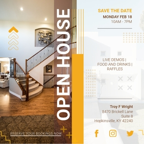 White and Yellow Open House Online Ad Instagram Post template