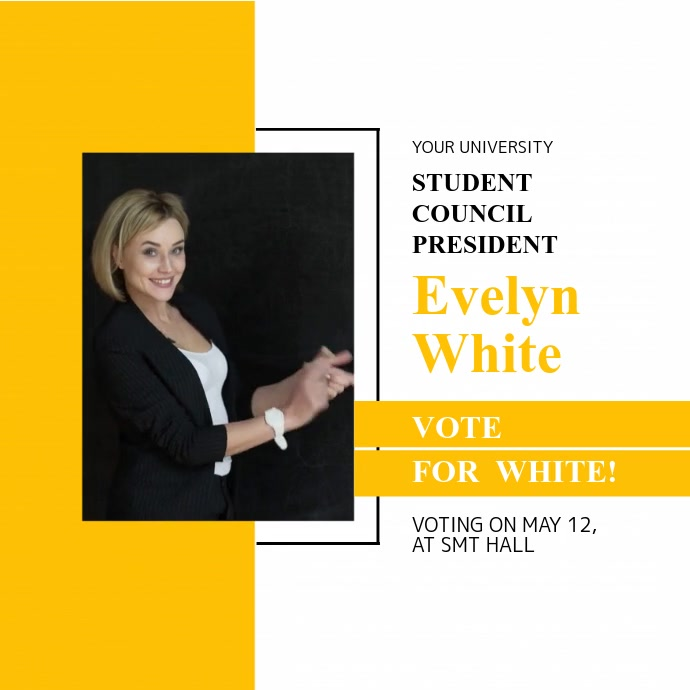 White and Yellow Student Council Election Campaign Square Vi Quadrado (1:1) template