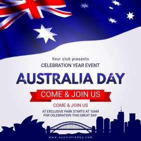 White Australia Day Square Video Invite template