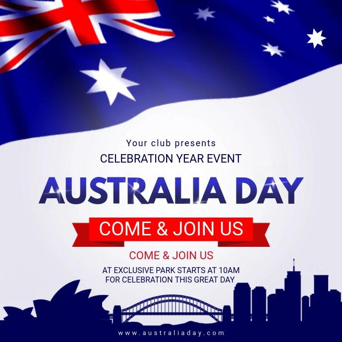 White Australia Day Square Video Invite