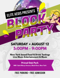 White Block Party Flyer template