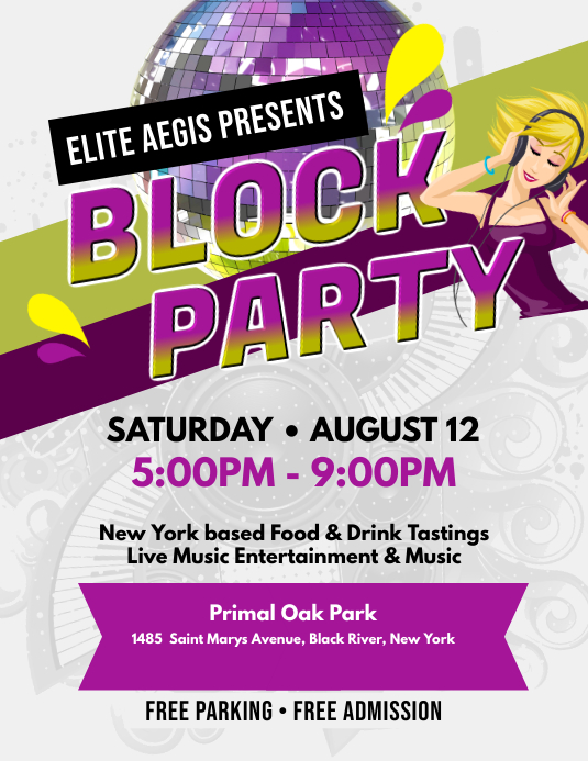 White Block Party Flyer
