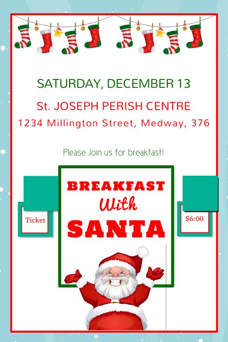 White breakfast With Santa Template