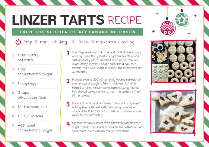 White Christmas Recipe Card A4 template