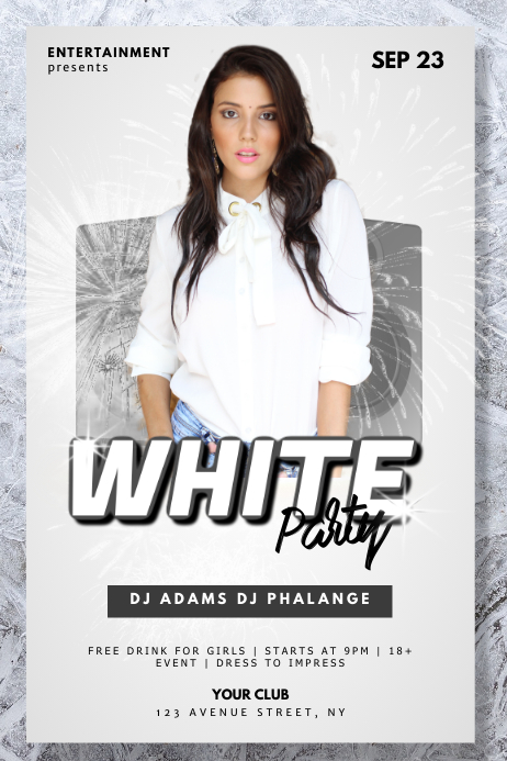 White Club Party Flyer Template