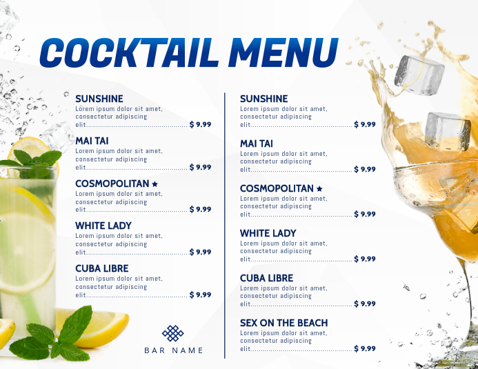 White Cocktails Menu Template