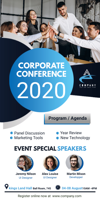 White Corporate Conference Roll Up Banner Sta ป้ายโรลอัป 3' × 6' template
