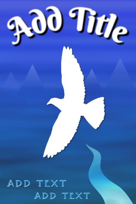 dove flying over blue river landscape - template